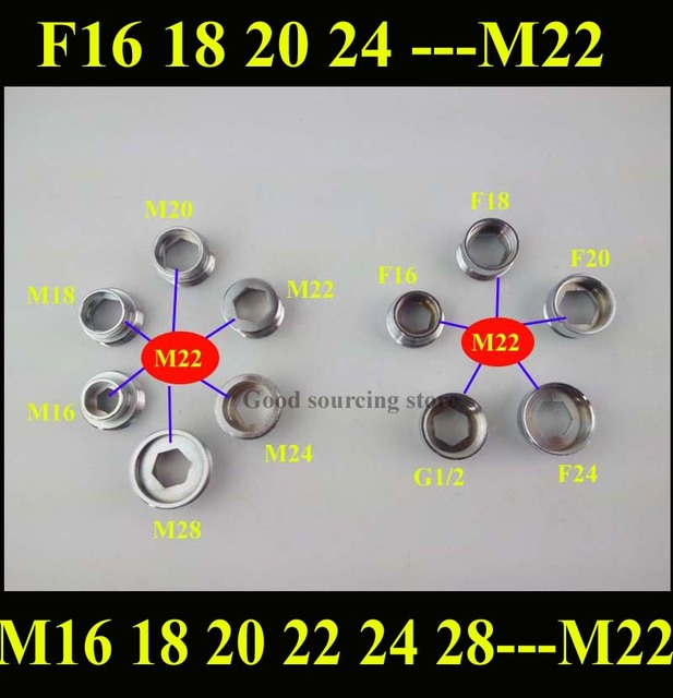 16 18 20 22 24 28mm female or male thread faucet adapter change to ...