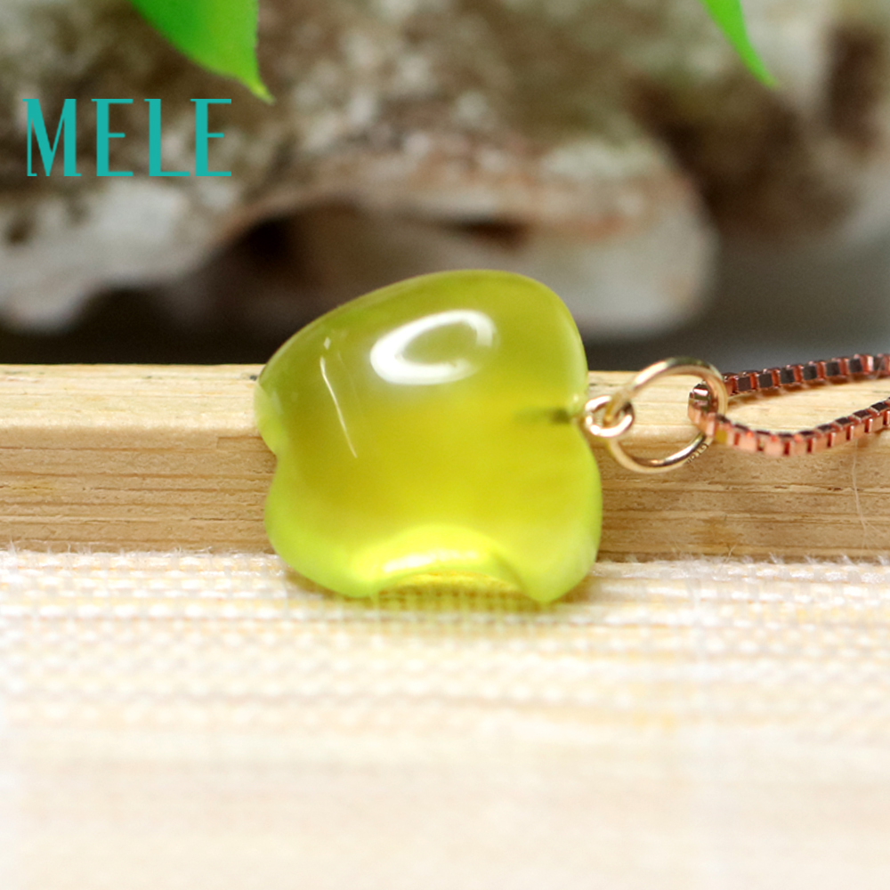 Natural yellow prehnite 18k real gold pendant for women and man,16X12mm apple shape gemstone fashion and simple Grape stone - 5