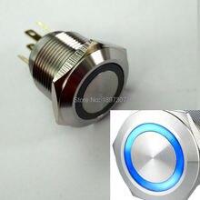 19 мм мгновенная нормальная открытая синяя 12 В кольцевая светодиодная кнопка для автомобиля с контактным терминалом