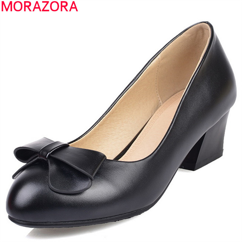MORAZORA 2018 spring summer sweet ladies pumps with butterfly knot round toe square heel med heels shallow slip on women shoes 2017 spring women retro pumps solid slip on sweet butterfly knot round toe med square thick heels shallow female shoes plus size