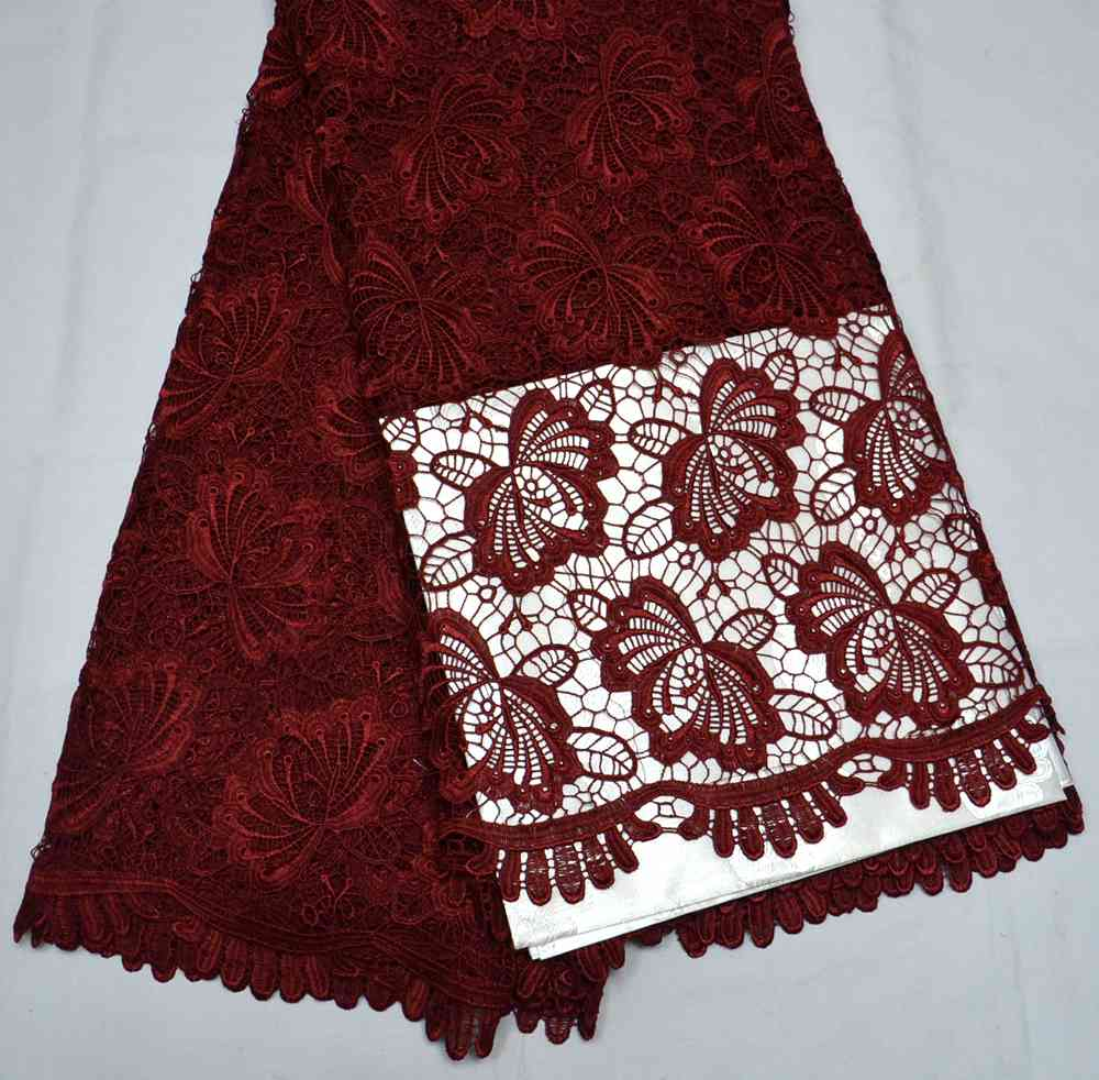 Latest High Quality Nigeria design Maroon African Guipure wedding lace fabric 5 yards traditional wedding lace