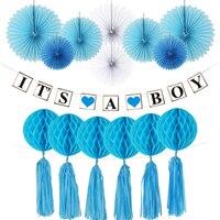 HAOCHU 21pcs Blue Flower Paper Fan Tissue Honeycomb Balls Paper Banner Crafts Decor Boy Birthday Party Home Decor Supplier