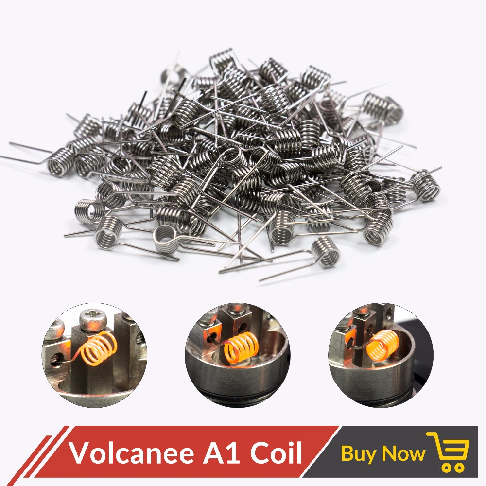 Volcanee 100pcs/pack A1 SS316 Ni80 Coil Wire Coiling Prebuilt Coil Resistance 22 24 26 28 30GA Heating Coil Wire for Vape E Cig image