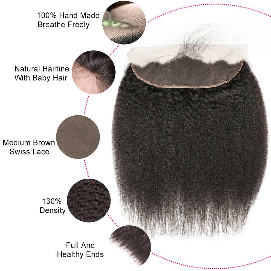 ALIPOP Pre desplumado peruano rizado encaje recto cierre Frontal con pelo de bebé Remy cabello humano cabello Natural negro 1B