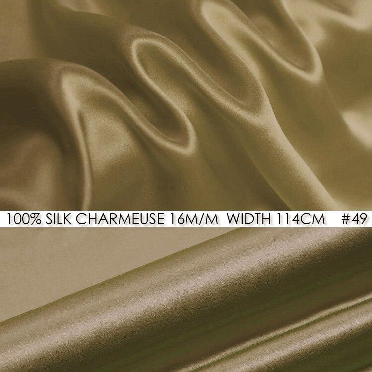 SILK CHARMEUSE SATIN 114cm width 16momme/100% Pure Silk Fabric/Patchwork Wedding Dress Lighter Sewing Fabric NO 49 Dark Camel