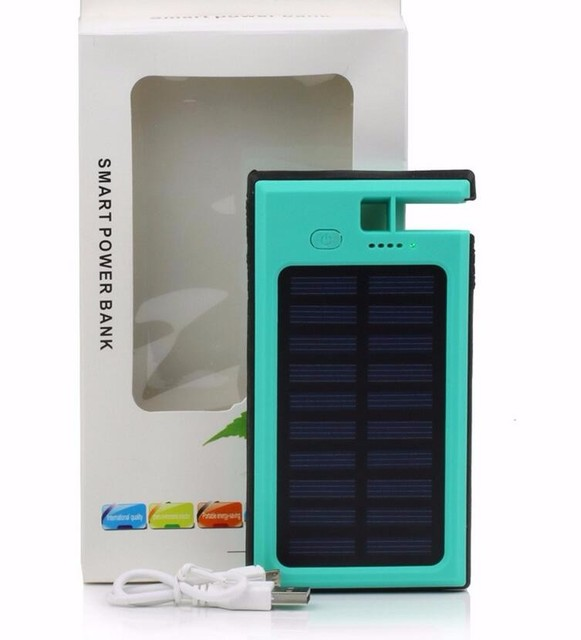 8000mAh Solar Power Bank Universal Charger Dual USB LED Lighting Portable External Battery Powerbank for Smart Phones