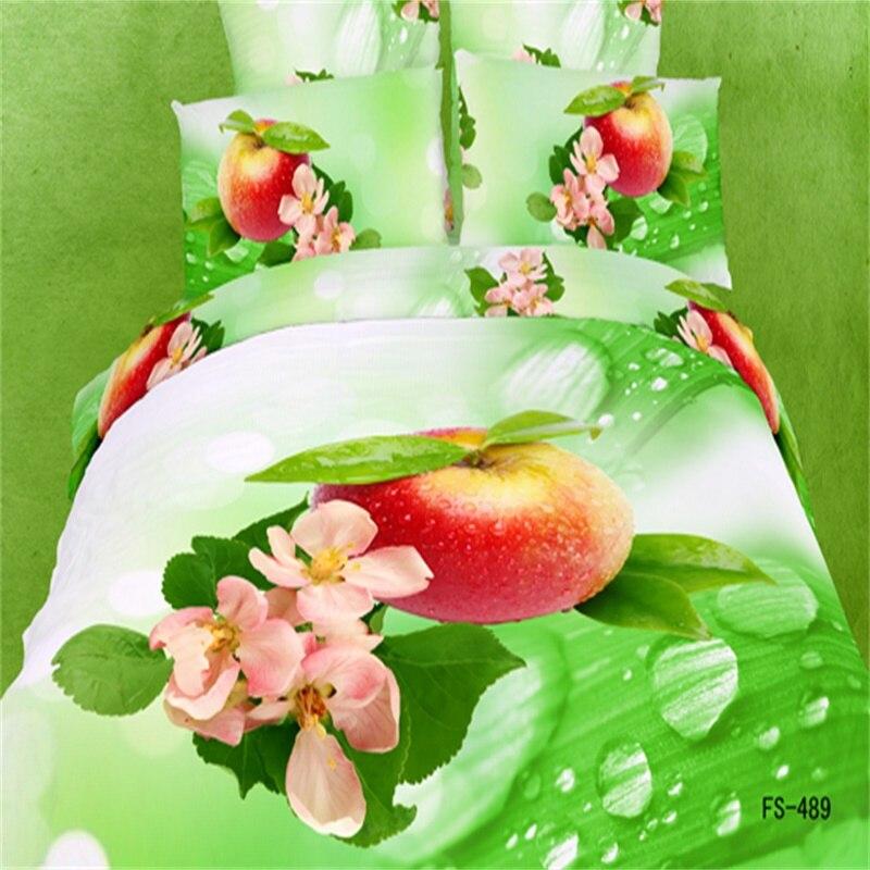 Moda Kırmızı Elma Çiçeği Yeşil Yatak Seti Kraliçe, 3D Çiçek Pamuk Nevresim Çarşaf Yastık Ev Tekstili setleri