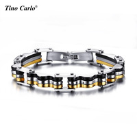 Biker Bracelet For Men Black Gold Color Surgical Steel Male Jewelry SFR346