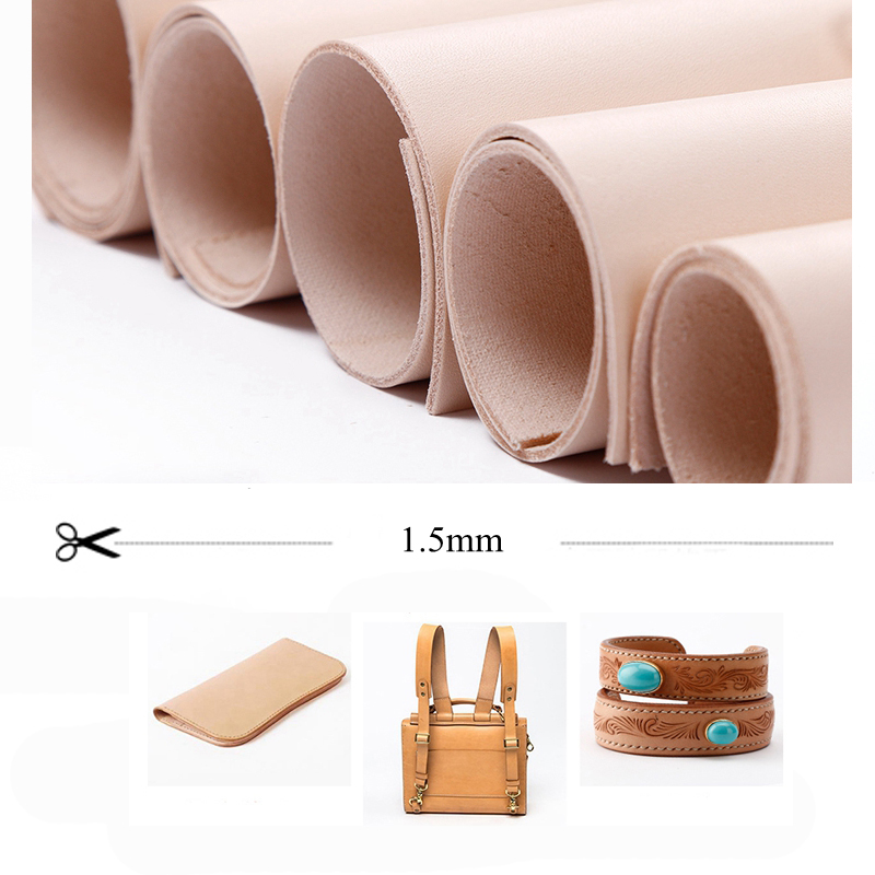 DQK Leather Vegetable Tanned Leather 1.5mm Thickness High Quality Handmade Leather Furniture DIY Art Craft Sewing Accessory