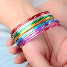 30pcs/Lot Women Girls Colorful Loop Bracelet Thin Circle Dance Bangle Chromatic Aluminum Charm Cuff Wholesale