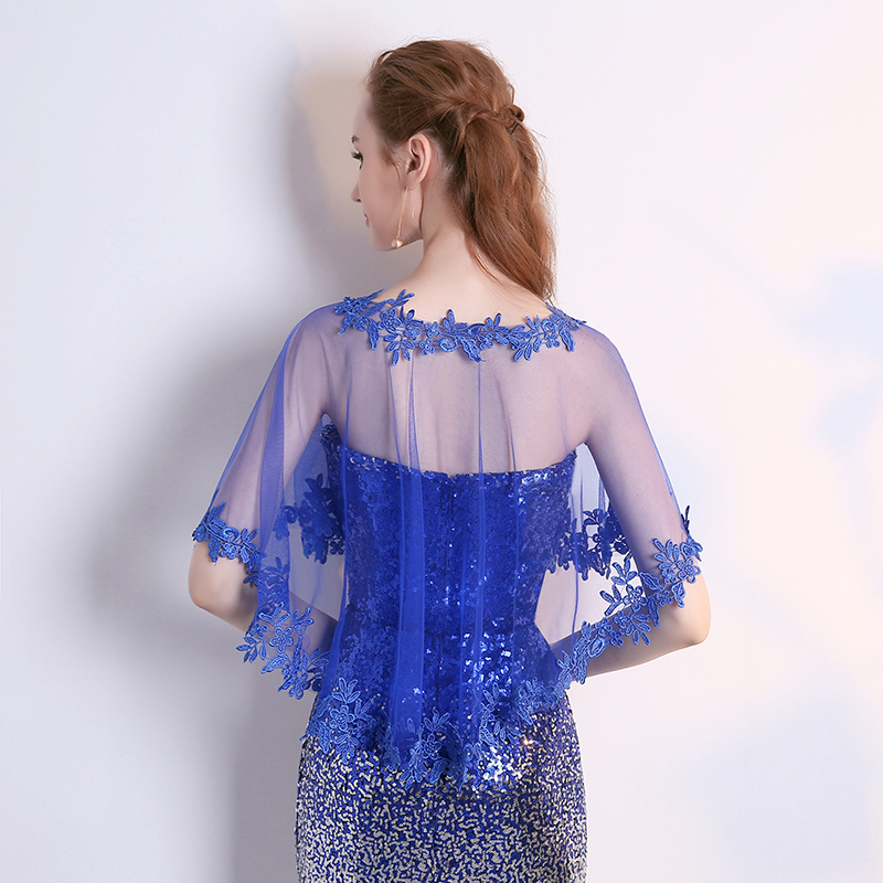2018 Summer Autumn Woman Royal Blue lace Wraps Shawl Wild Bridal Party Wedding Ladies Scarf in Wedding Jackets Wrap from Weddings Events