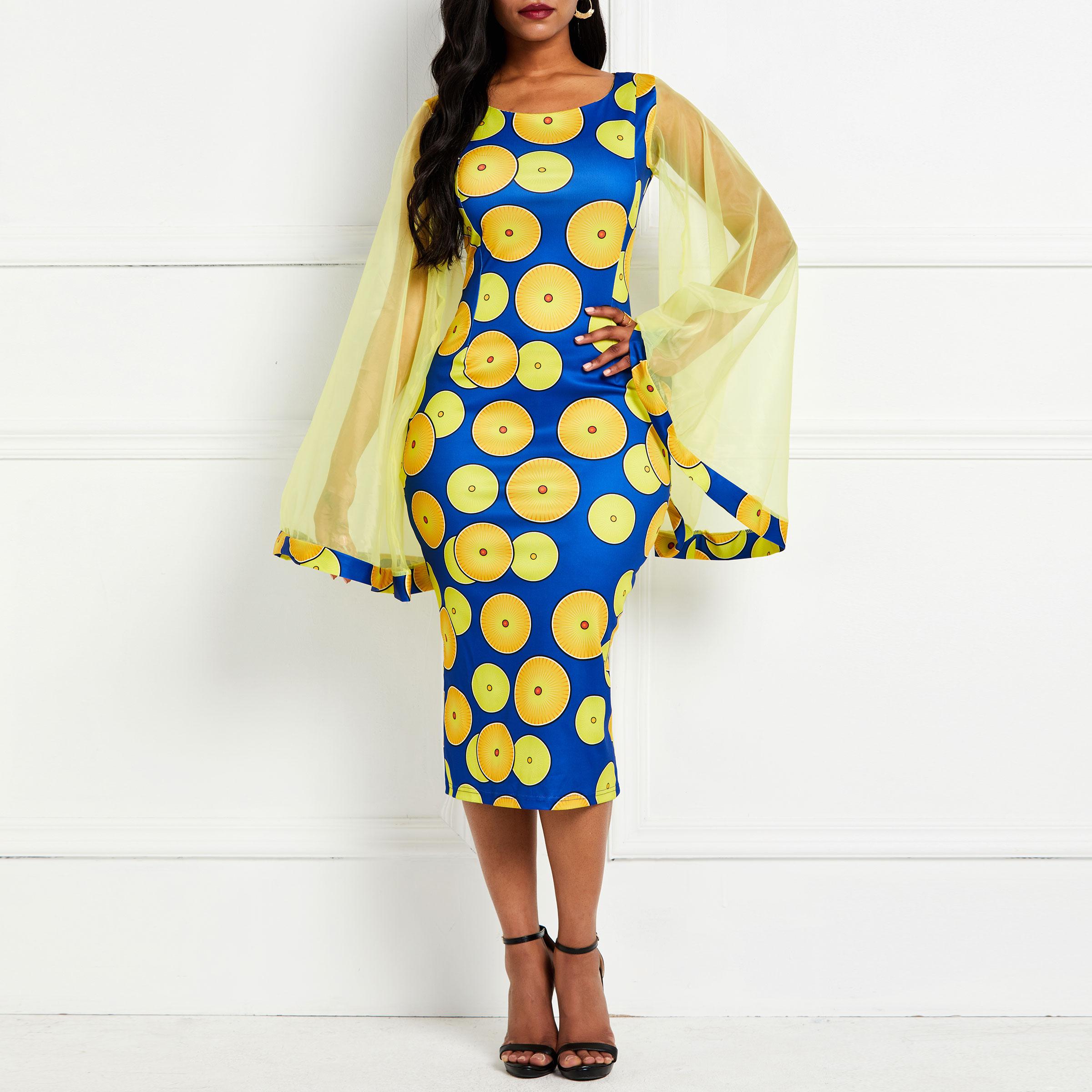 1e48d4b128a Элегантное офисное женское платье с круглым вырезом и коротким рукавом ...