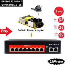 48 V 120 W сетевой переключатель POE коммутатора Ethernet с 6 RJ45 сети Порты IEEE 802,3 af/at подходит для CCTV камеры системы/Беспроводной AP