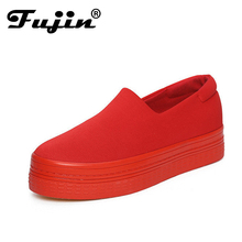 Appartements femmes Nouveau 2016 Printemps Occasionnels Chaussures Solide Toile Plate-Forme Chaussures Rouge Noir Femmes Casual Chaussures Zapatos Mujer Chaussure Femme