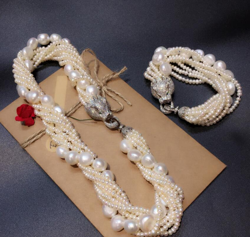 Leopard head clasp accessory white freshwater pearl necklace bracelet set fashion jewelry