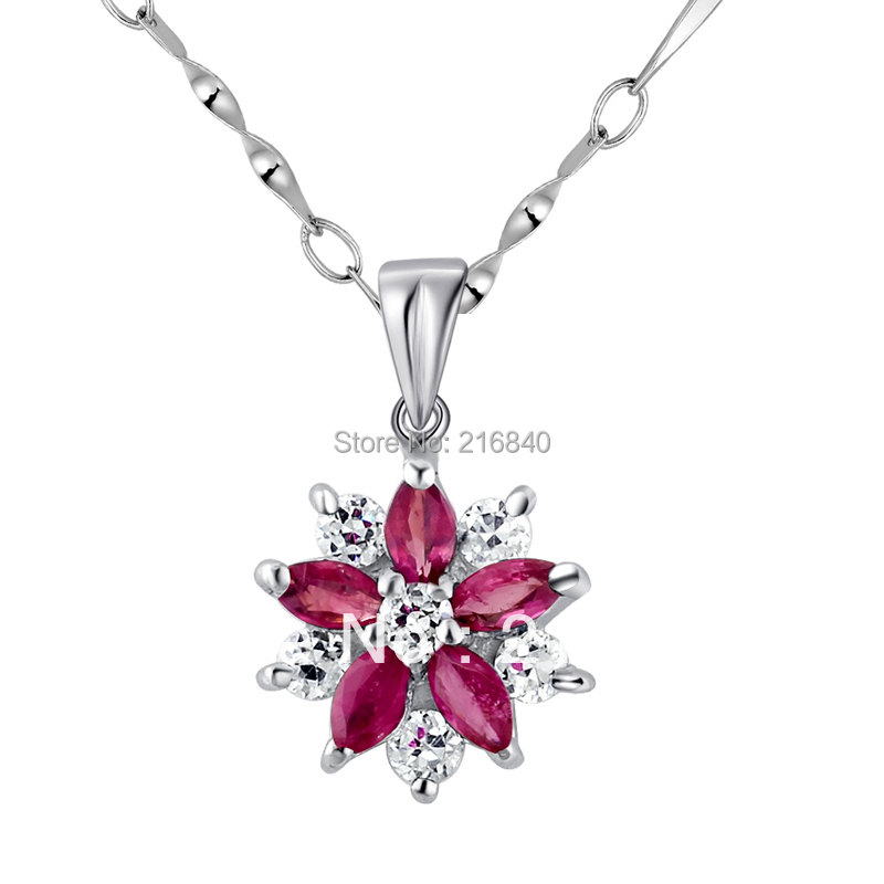 Natural Ruby Pendant Necklace 925 Sterling silver Woman Fine Elegant Gem Flower Jewelry Girl Birthstone Valentine Gift SP0562RNatural Ruby Pendant Necklace 925 Sterling silver Woman Fine Elegant Gem Flower Jewelry Girl Birthstone Valentine Gift SP0562R