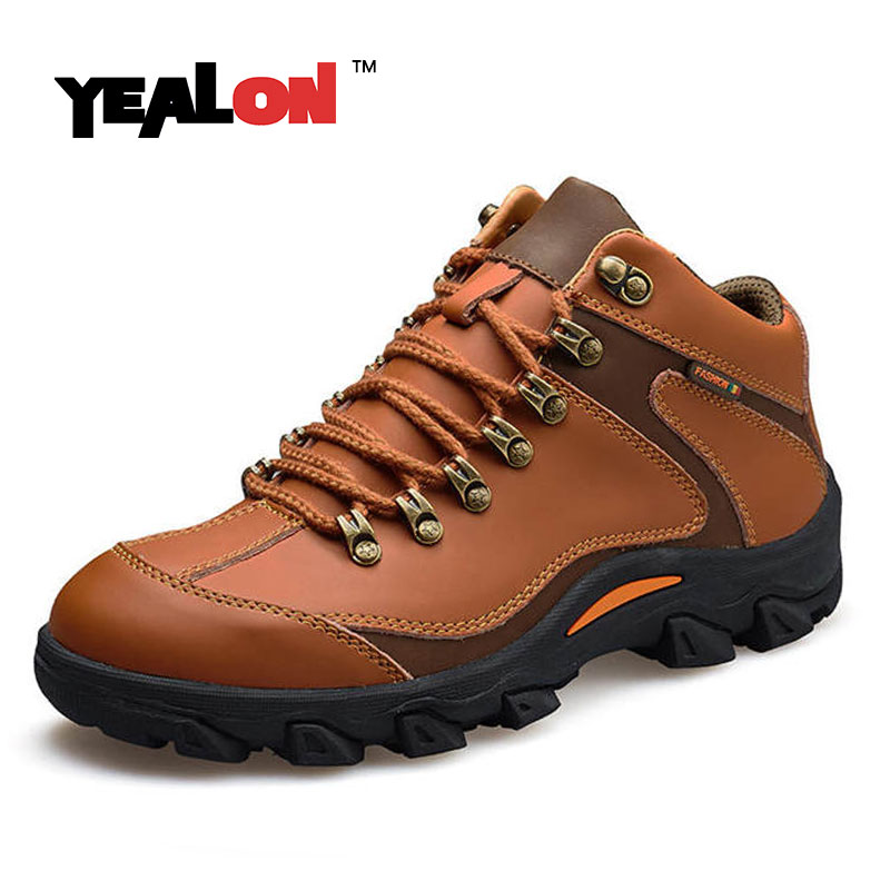 YEALON Hiking Shoes Men Outdoor Trekking Shoes Genuine Leather Zapatillas Deportivas Hombre Sneakers Mountain Hiking Boots Men clorts hiking men shoes outdoor trekking shoes suede lace up leather shoes mountain climbing shoes zapatillas outdoor hombre