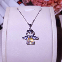 New Arrival Cute Quality Austrian Crystal Angel Pendant Pure 925 Sterling Silver Chain Necklace for Women Elegant Birthday Gift