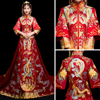 Red Gold Phoenix Embroidery Dresses Female Traditional Chinese Dress Women Long Sleeve Cheongsam Qipao For Wedding Oriental Robe