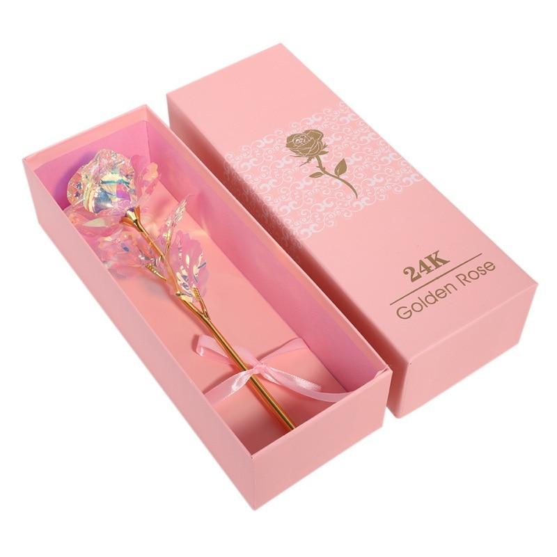 Dropshipping Valentinstag Kreative Geschenk 24K Folie Gold Rose Dauert Für Immer Liebe Hochzeit Decor Liebhaber Beleuchtung Rose