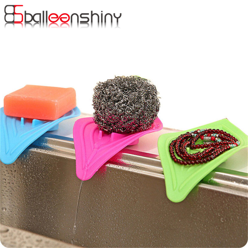 BalleenShiny Plastic Soap Dish Anti-Slip Kitchen Sink Sponge Organizer Drain And Clean Soap Gadget Bathroom Storage Box