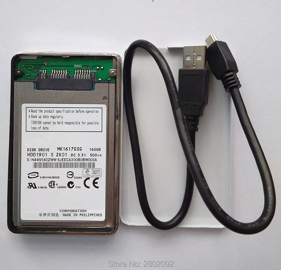 NEW 160GB HDD 1.8 MicroSATA MK1617GSG AND A mobile hard disk box FOR HP 2740p 2730p 2530p 2540p IBM x300 x301 T400S T410S image