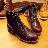 Handmade Genuine Leather Original Unisex Spring Winter Boots Men Wing Motorcycle Fashion Work Wedding Boots Wine Red Color