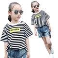 Niños de la escuela Camisetas Para Niñas Niños Carta Ropa Niñas Rayas Camisetas casual summer girls tees 4 5 7 9 11 12 años Tops