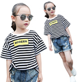 School Kids T-Shirts For Girls Children Clothing Letter Striped Girls T-Shirts Casual Summer Girls Tees 4 5 7 9 11 12 Years Tops