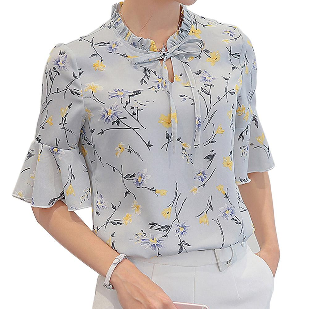 2019 New Yfashion Women Fashion Flower Printing Casual Ruffle Sleeve Shirt