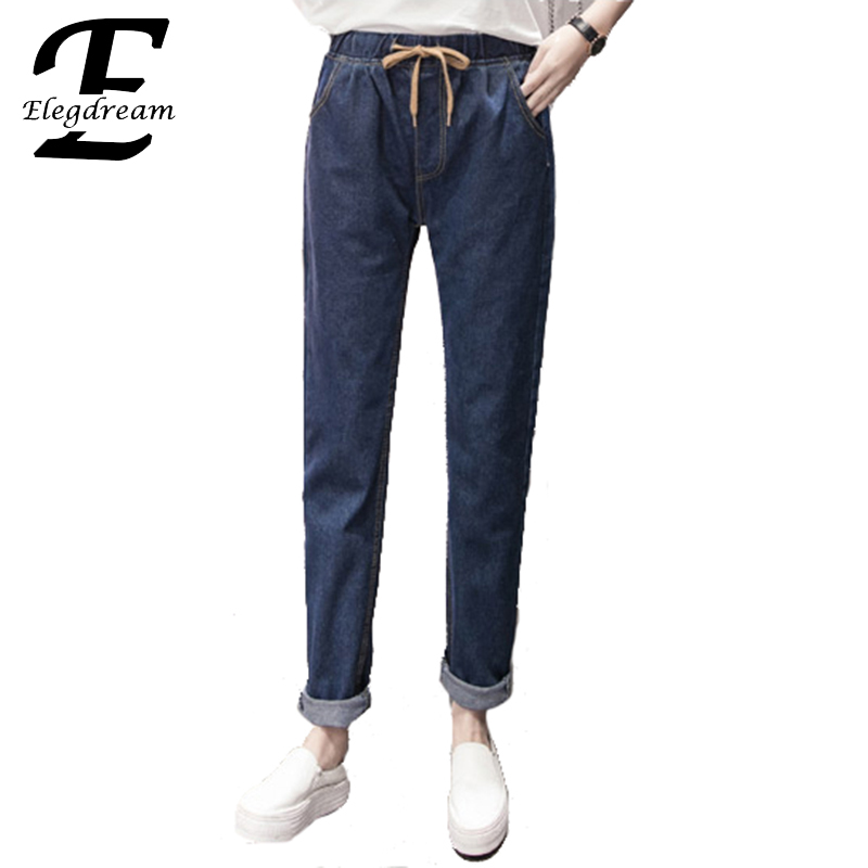 Elegdream Apparel Plus Size Women Trousers S 5XL 8 Size 2017 Spring New Ladies Denim Pant Girl Casual Jeans Trousers Blue XXXXXL цены онлайн