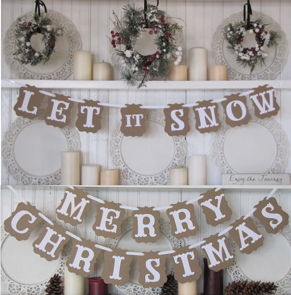 Rustic Christmas Banner Merry And Happy New Year 2018