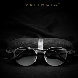 Image 5 - VEITHDIA Fashion vintage Unisex Aviation Aluminum Round Polarized SunGlasses Men Women brand designer Sun glasses Eyewear 6358