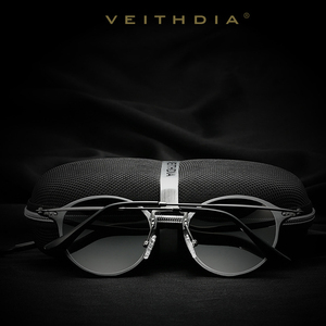 Image 5 - VEITHDIA موضة خمر للجنسين الطيران الألومنيوم مستديرة الاستقطاب النظارات الشمسية الرجال النساء العلامة التجارية مصمم نظارات شمسية نظارات 6358