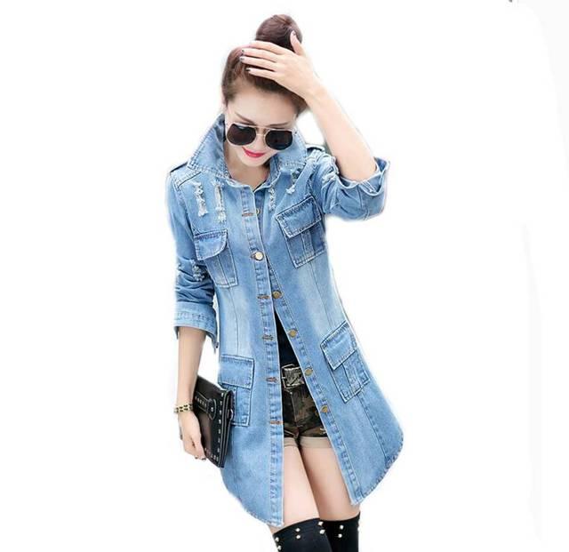 #3002 Длинные джинсовые куртки женщин 2016 Рваные джинсы куртка женщин Дамы пальто Jaquetas Chaqueta mujer feminina Jaqueta джинсы Vintage