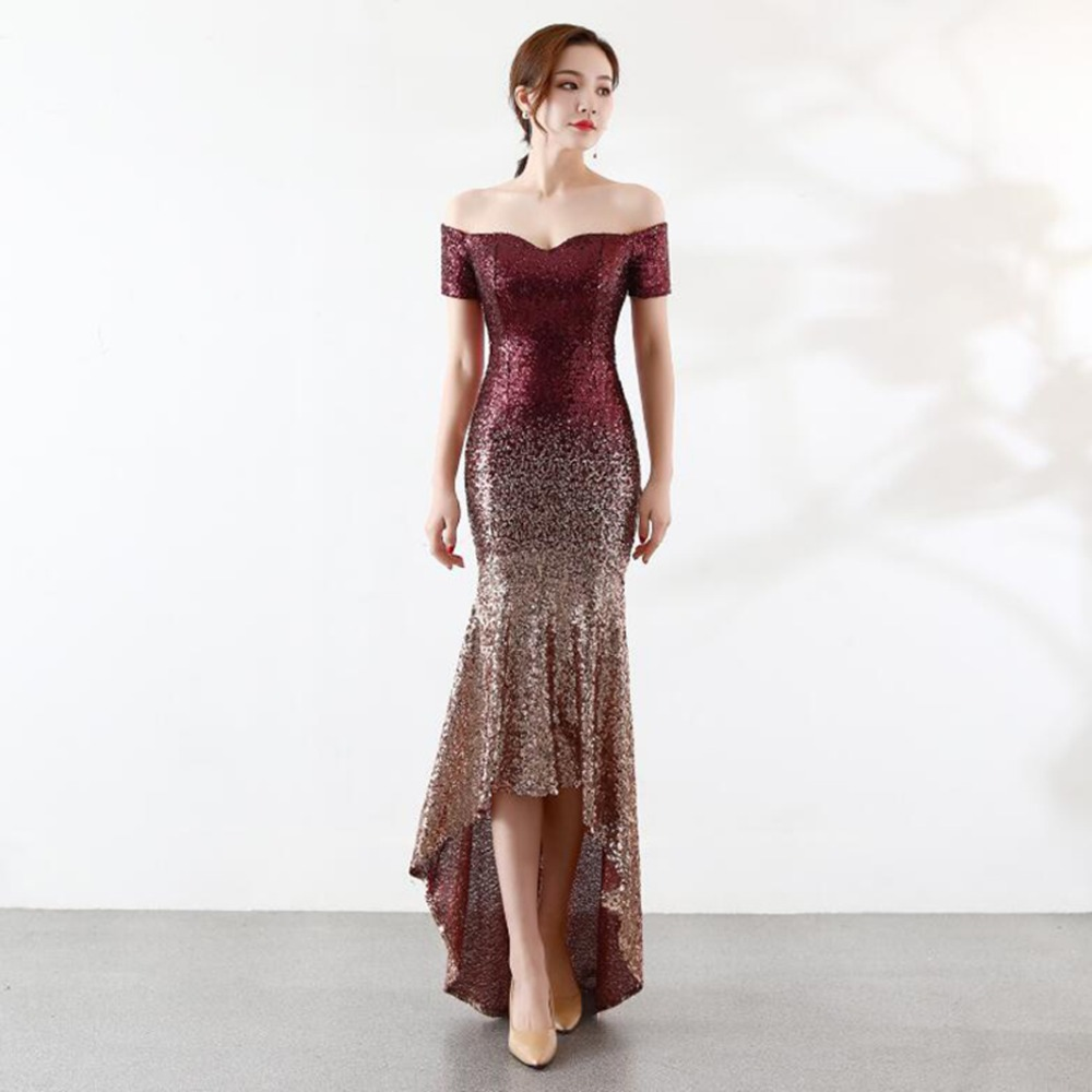 NOBLE WEISS Sexy   Prom     Dresses   2019 Boat Neck Gradual Sequin Asymmetrical Custom Made Mermaid Party   Dress