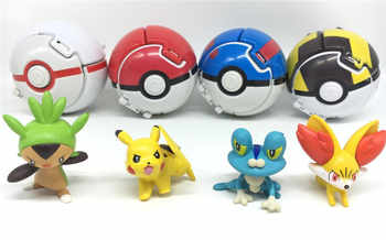 VIP-4Pcs/set Pocket ball(7cm) + 1pcs Figure(4-5cm) Inside Figures Toys for Kids Pikachu and more doll Pocket Monster ball Toys - DISCOUNT ITEM  0% OFF All Category