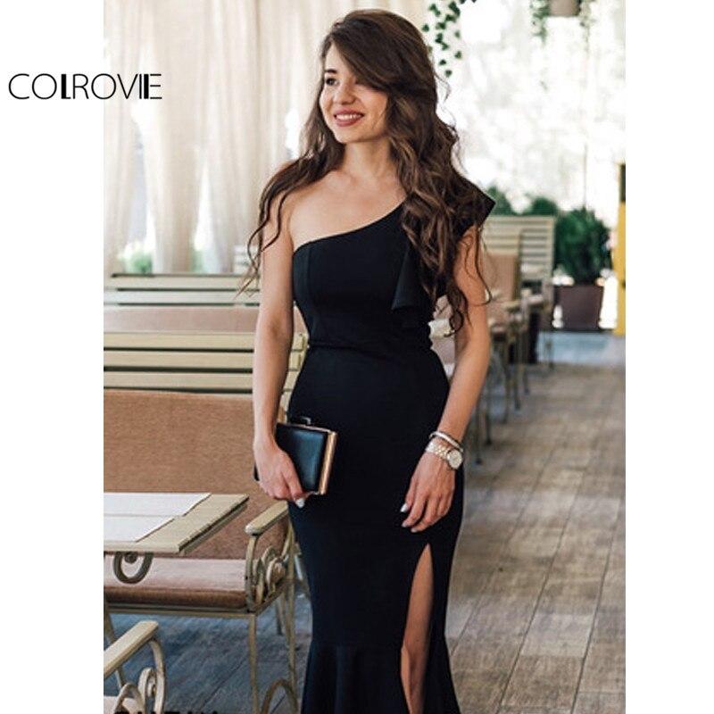 c37ab886c93ed COLROVIE Black Party Dress Women One Shoulder Frill Peplum Hem Sexy Elegant  Summer Dresses Slim Ruffle Split Bodycon Dress