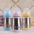 Cute Fashion Wide Mouth Baby Bottle Stainless Steel Insulation Cups Small Arc Type Medium Flow With Handle 240ML Thermos
