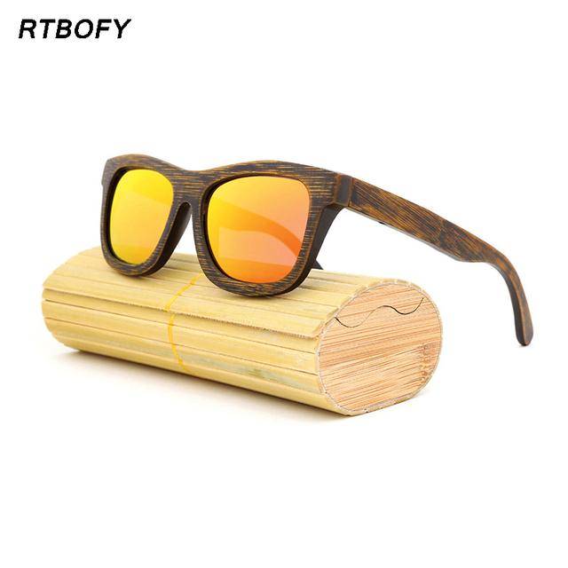 Homens ou mulheres polarizados óculos de Bambu De Madeira Óculos De Sol Da Marca Designer Espelho Óculos feminino oculos de so-ZE-03 Originais