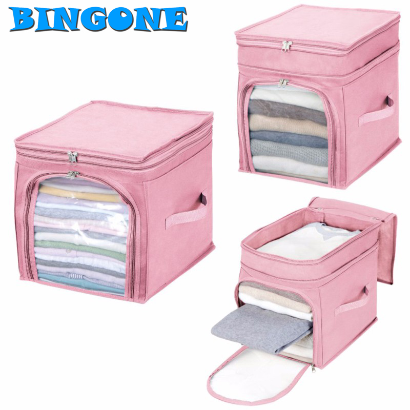 Bingone Hot Sale Storage Bag Box Portable Durable Organizer Non Woven Underbed Pouch Storage Bag Box Bamboo For Clothing -TZ