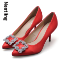 Size 34-41 New Arrival 2016 Fashion Brand Silk Red Wedding Shoes Sexy Rhinestone Thin High Heels Pointed Toe Women Pumps D35
