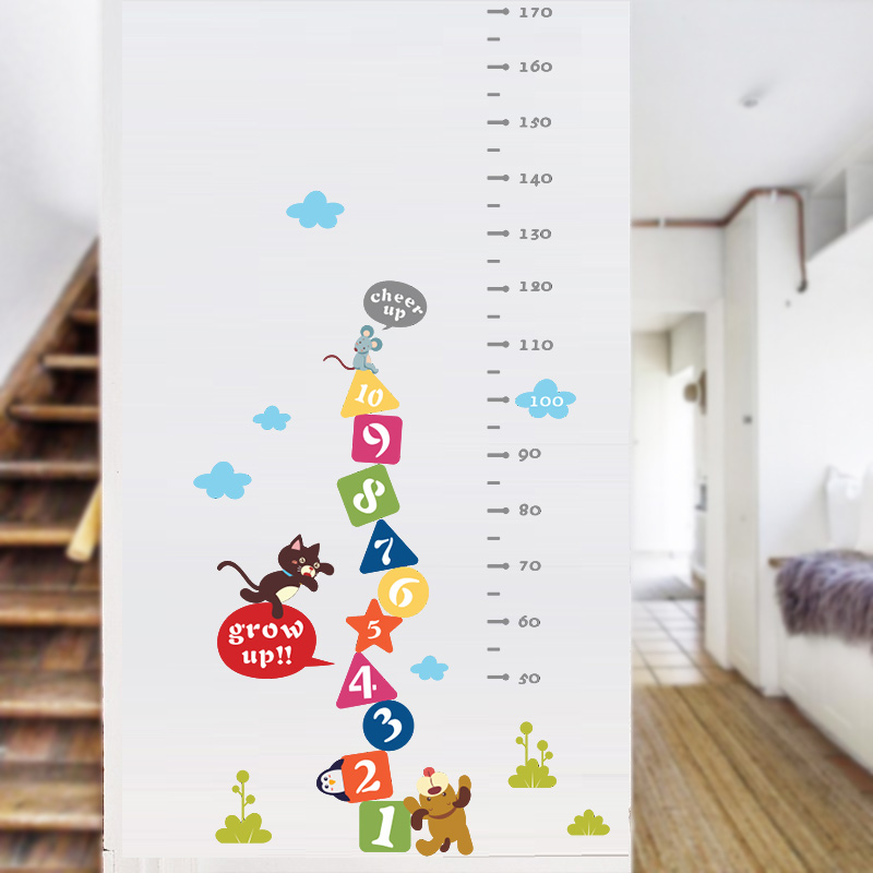 Cat Mouse Dog number cheer up animals children height measure wall stickers for kids room sticker home decoration decor decals