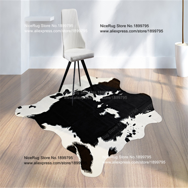3 Piece Black Cowhide Rug Cow Printed Carpet For Home Faux Skin Imitation Leather Natural