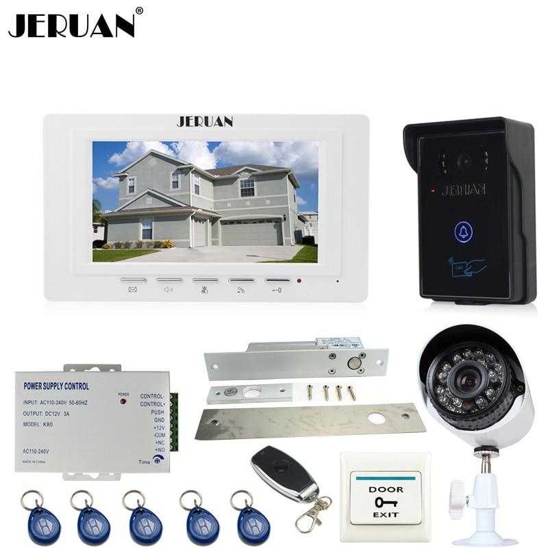 JERUAN Home 7 TFT video door phone intercom System monitor brand new RFID waterproof Touch Camera