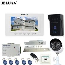 "JERUAN Ev 7 "" TFT görüntülü kapı telefonu interkom Sistemi monitör marka yeni RFID su geçirmez Dokunmatik Kamera + 700TVL Analog kamera + KILIT"