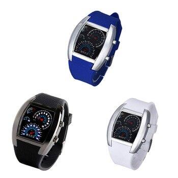 Модные авиационные турбо светодиодные часы со вспышкой, подарок для мужчин и женщин, спортивный автомобиль, счетчик, наручные часы, бизнес класса люкс, Relogio Masculino Saat