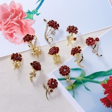 Rinhoo Zinc Alloy Trendy Popular Crystal Carnation Brooch For Mother's Day Gift Fashion Jewelry For Mother