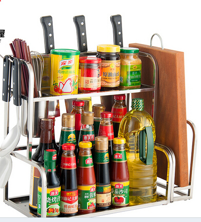 ФОТО free shipping 2015 hot sale stainless steel storage rack kitchen holder spice rack kitchen parts 35CM 2layer with board holder