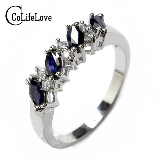 Genuine sapphire ring 925 silver sapphire ring for woman 2 mm * 4 mm marquise cu
